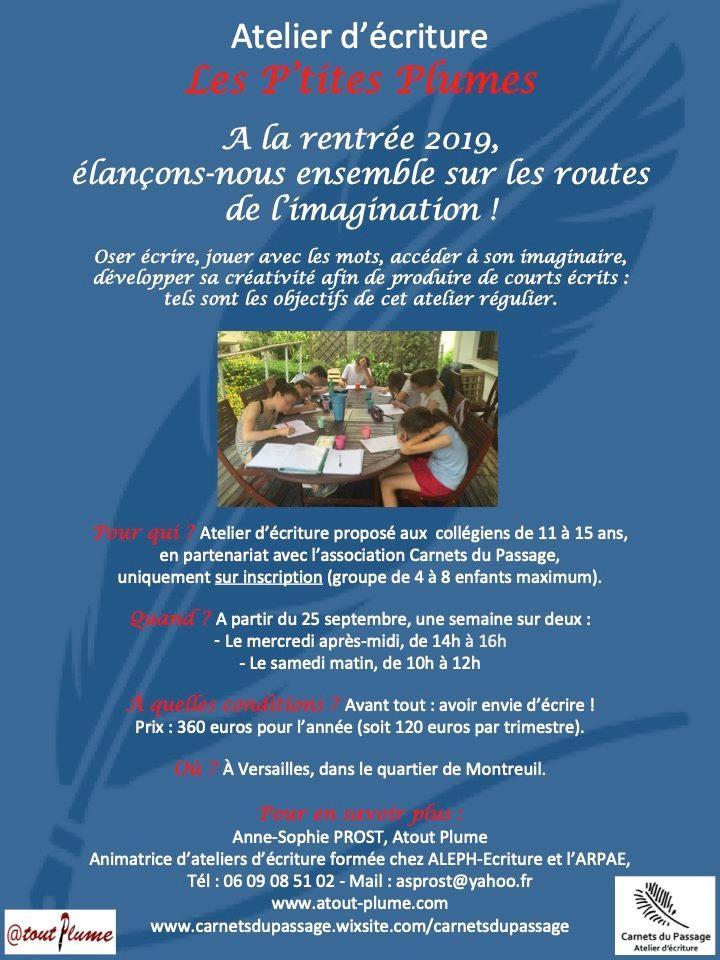 Atelier d'écriture régulier pour collégiens à Versailles