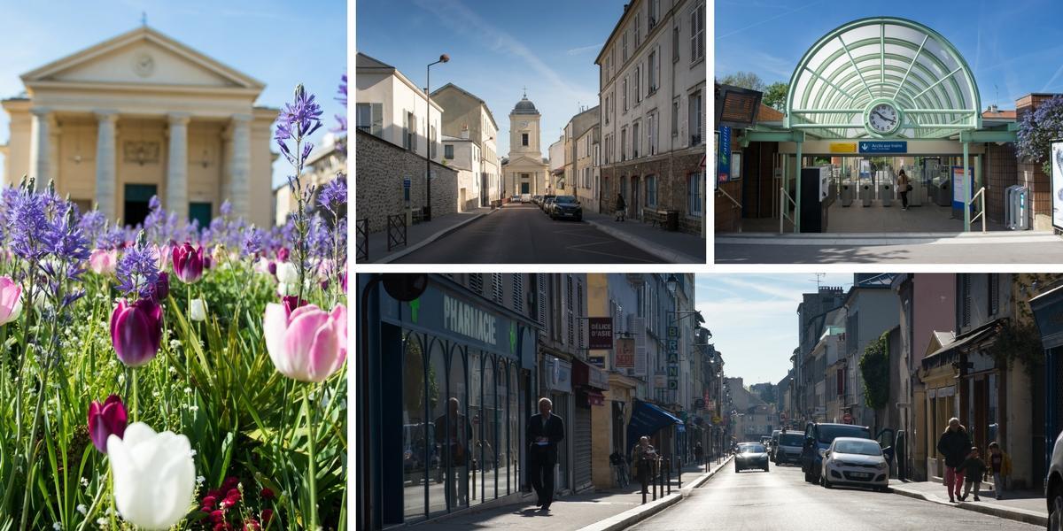 Quartier Montreuil avec l'église St Symphorien, la rue commerçante de Montreuil et la gare Montreuil © AnnaClick